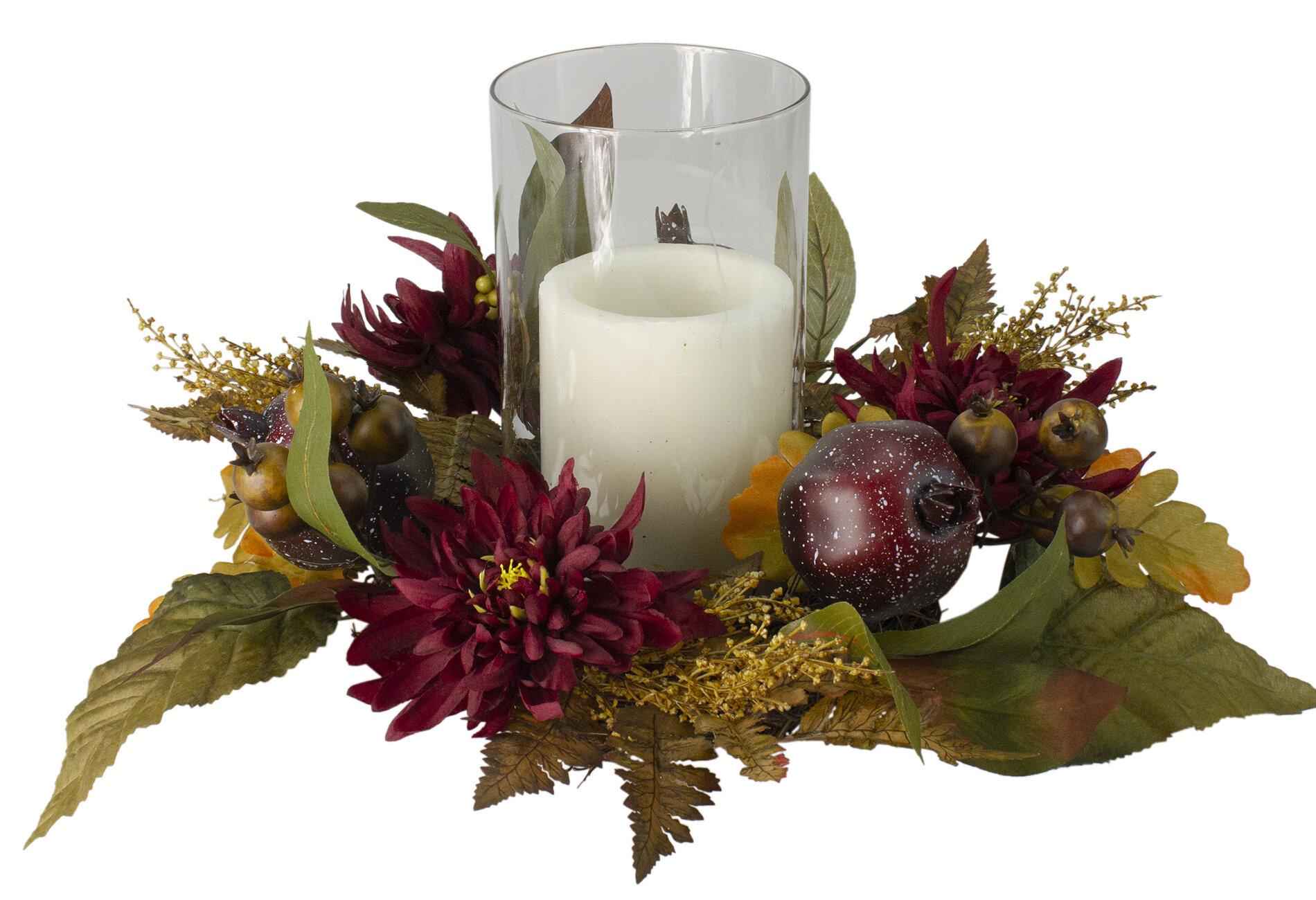 Northlight 22 Autumn Harvest Mums With Pomegranate Autumn Centerpiece Glass Candle Holder Wayfair