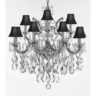 Astoria Grand Carswell 13-Light Fabric Shaded Chandelier