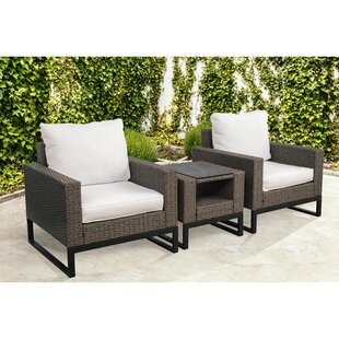 Bawden 3 Piece Rattan Conversation Set with Cushions