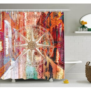 Juanita Life European Venice City Blurry Abstract Backdrop With Navy Sea Compass Art Print Single Shower Curtain
