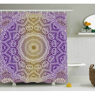 Ayr Yellow And Purple Mandala Ombre East Tradition Deep Sacred Mystic Magic Single Shower Curtain by World Menagerie Cool
