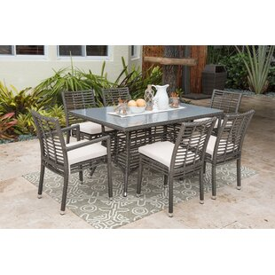 Panama Jack Outdoor 7 Piece Dining Set wi..