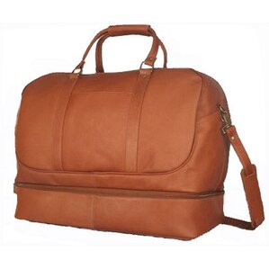 """20"""" Leather Bottom Compartment Travel Duffel"""