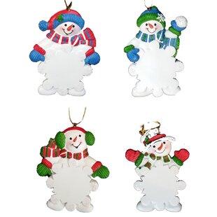 4 piece resin snowman christmas ornament set