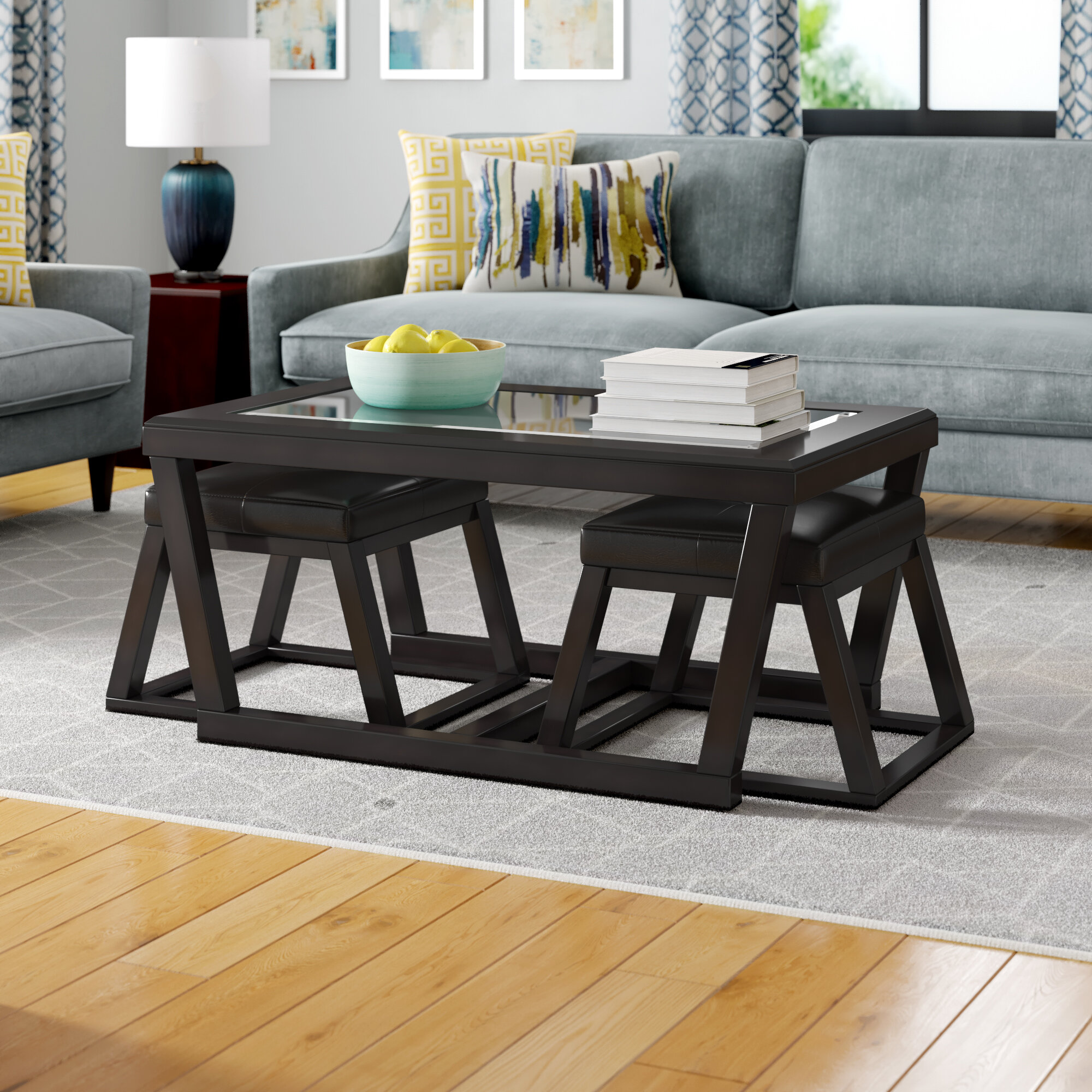Latitude Run Parodi Coffee Table With 2 Nested Stool Reviews Wayfair Ca