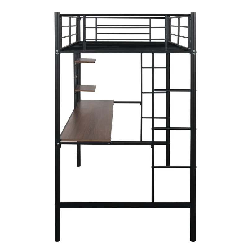 Isabelle Max Tradera Twin Loft Bed With Desk And Shelves Wayfair Ca