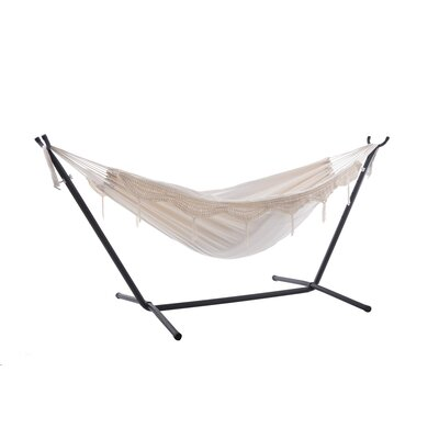 Beachcrest Home Dorinda Double Hammock with Stand Stand Color: Black, Color: Natural