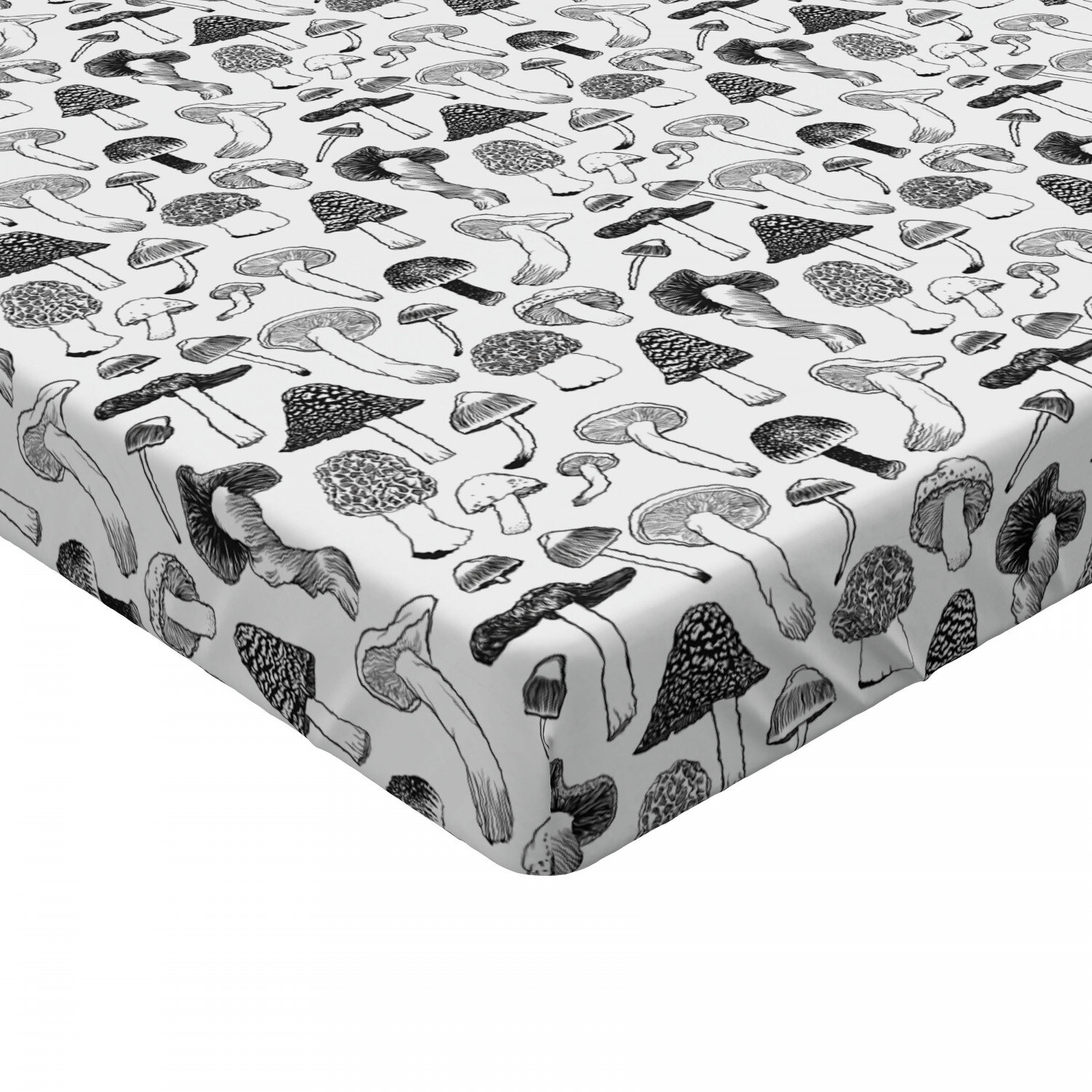 Woodland Mushroom Fitted Sheet Cover with All-Round Elastic Pocket in 4 Sizes