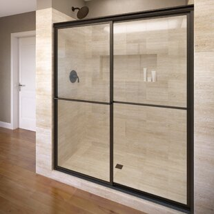 Compare prices Deluxe 51.38 x 68 Framed Bypass Sliding Shower Door By Basco