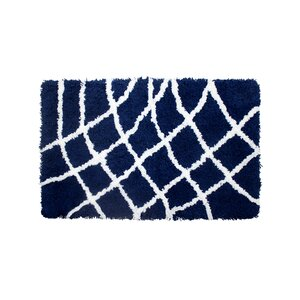 Diamond Chunky Shag White/Indigo Area Rug