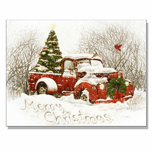 Christmas Red Truck.Vintage Christmas Tree Truck By Opportunities Framed Acrylic Painting Print Canvas In Red White