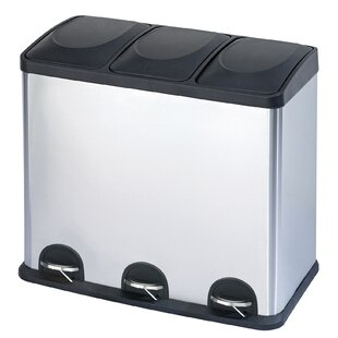 Stainless Steel 3-Compartment 12 Gallon Trash Can