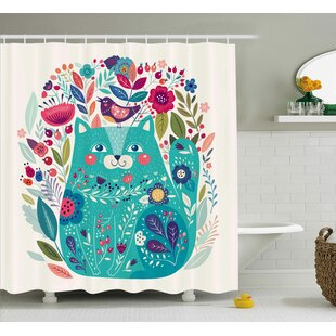 Lottie  Kitty with Flower and Bird Single Shower Curtain