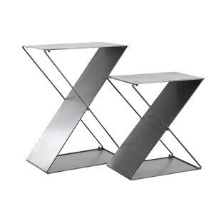 Orren Ellis Feemster Modern Tin 2 Piece Z-Shaped Corner Plant Stand Set