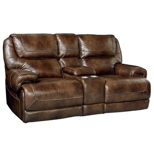 Shop Applewood Console Power Motion Leather Reclining Loveseat by Red Barrel Studio