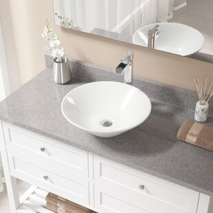 MR Direct Vitreous China Circular Vessel Bathroom Sink with Faucet