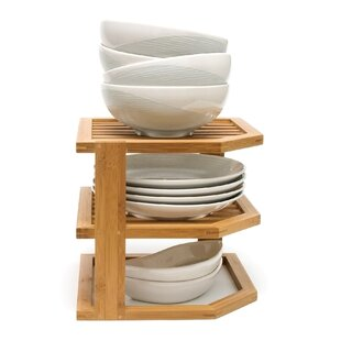 Lipper International Bamboo 3 Tier Corner Kitchen Shelving Rack