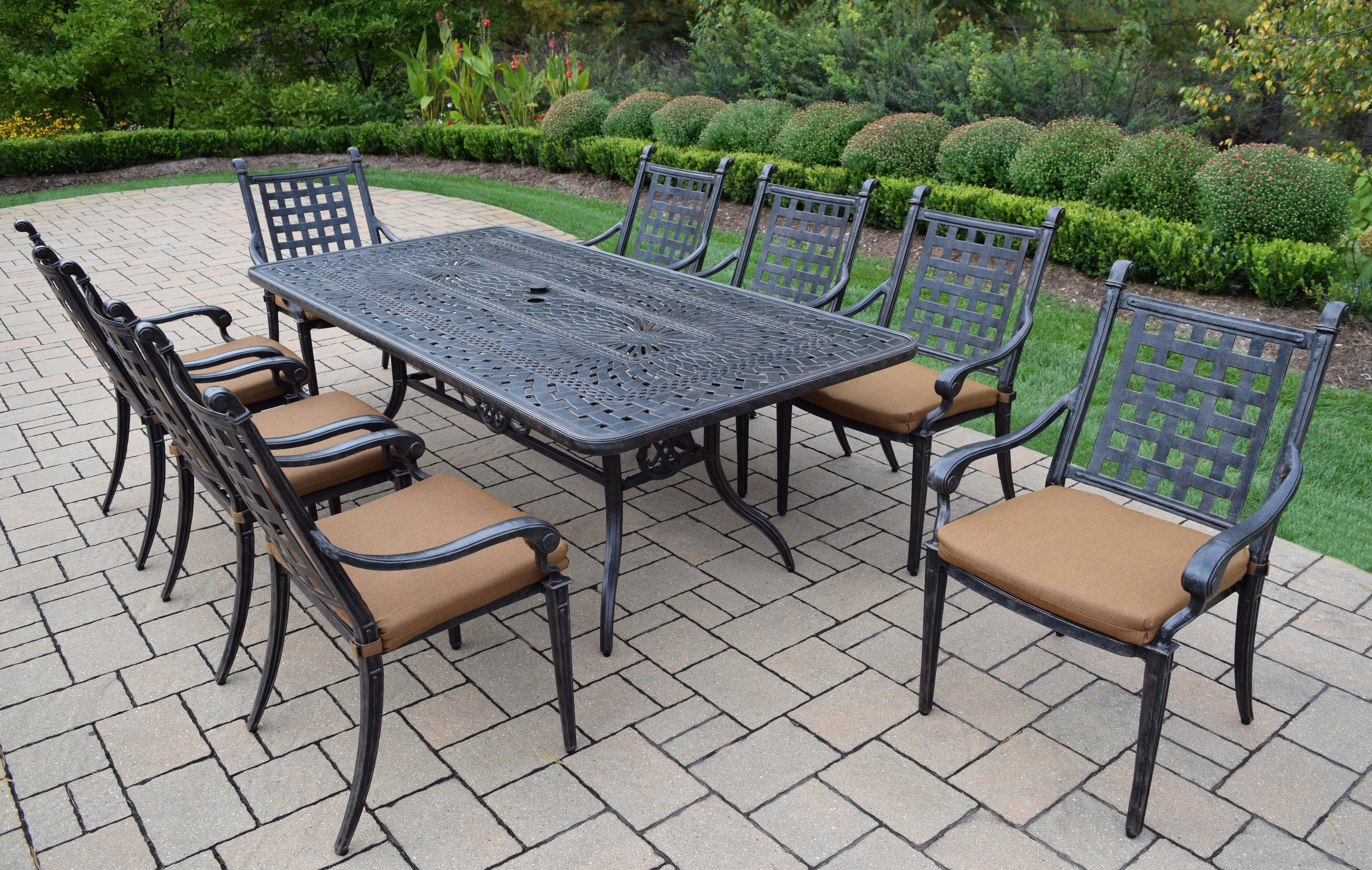 Darby Home Co Vandyne 9 Piece Patio Dining Set with Cushions