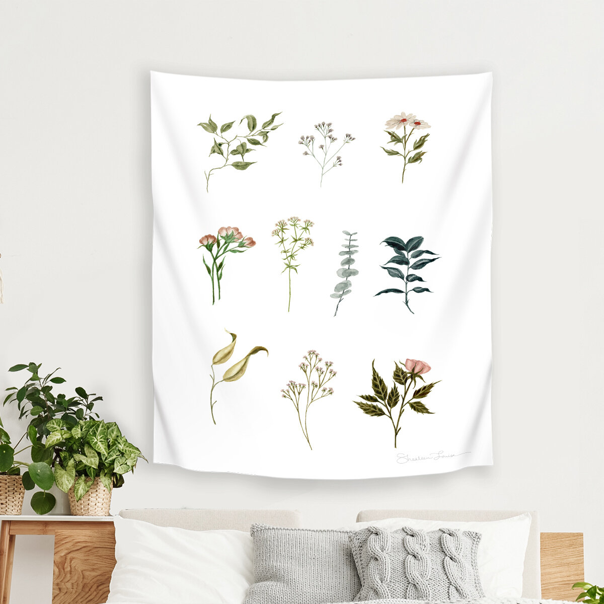 East Urban Home Shealeen Louise Delicate Botanical Pieces Tapestry Wayfair