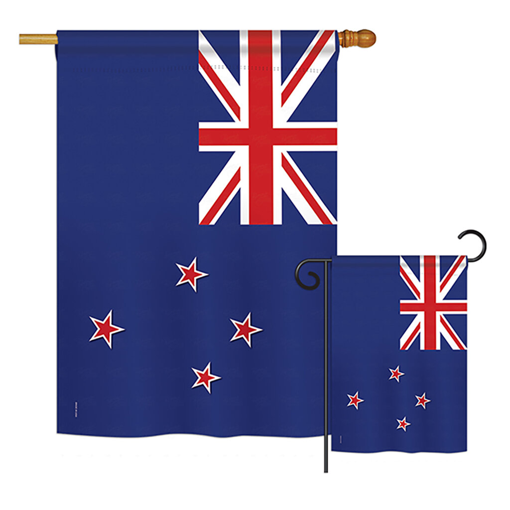 Breeze Decor 2 Piece New Zealand Of The World Nationality Impressions Decorative Vertical 2 Sided Polyester Flag Set Wayfair