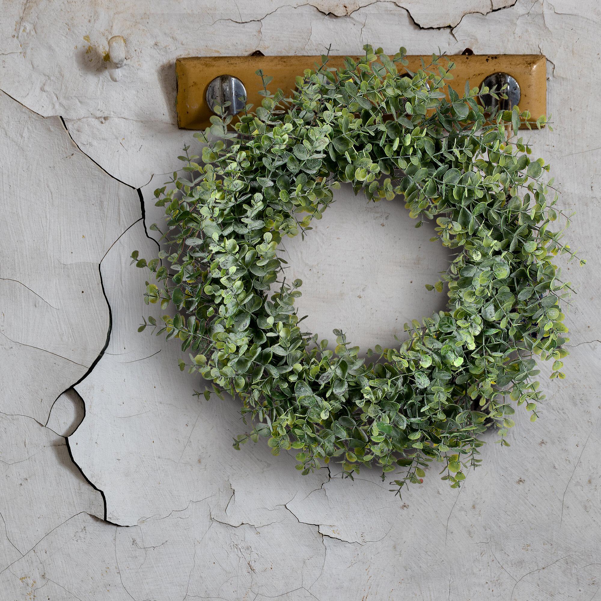 Gracie Oaks Frosted Eucalyptus 20 Foam Wreath Reviews Wayfair