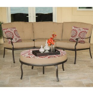 Storey Outdoor Chat Set Patio Conversation Bistro Set With Deep-Seating Sofa Ottoman and Red Bordered Accent Pillows by Canora Grey
