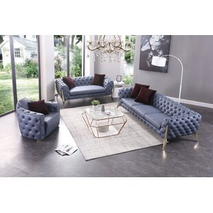 Everly Quinn Lanford 3 Piece Living Room Set