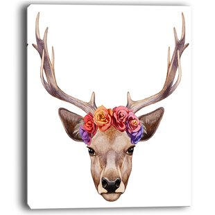 Designart Deer Portrait With Fl Head Wall Art On Wred Canvas