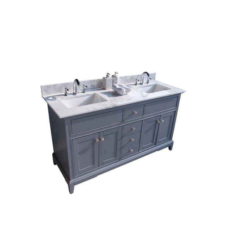 Volans 61 Double Bathroom Vanity Top In Carrara White With Sink Wayfair