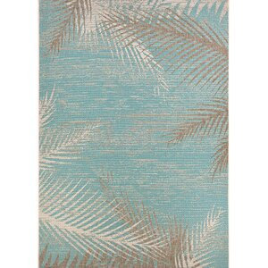 Odilia Tropical Palms Turquoise/Gray/Ivory Indoor/Outdoor Area Rug
