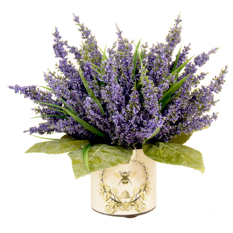 Lavender Heather in Decoupage Pot