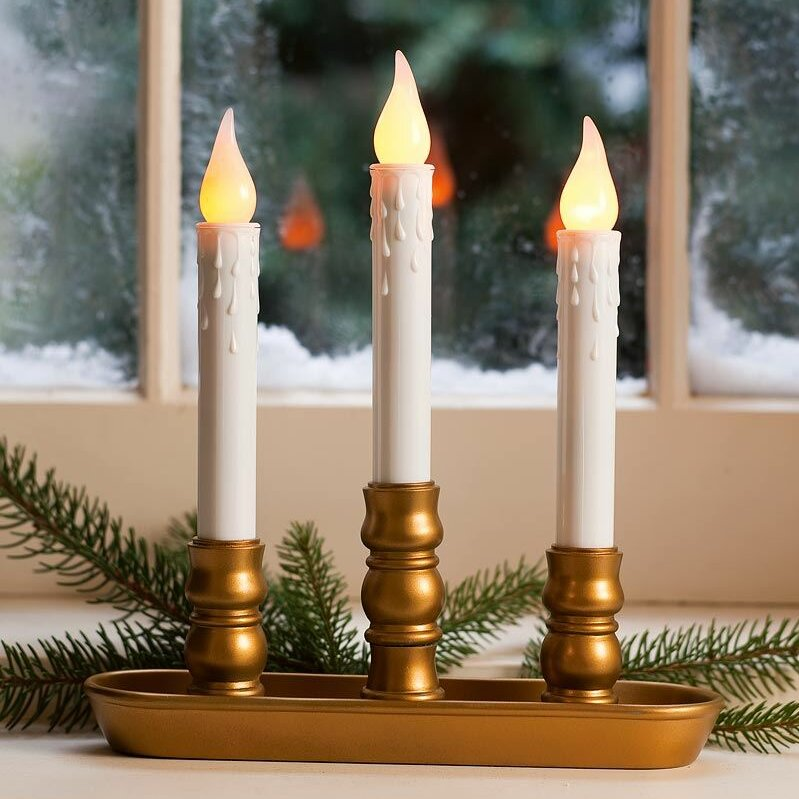 Christmas Window Candles.Battery Operated Triple Window Led Window Candle