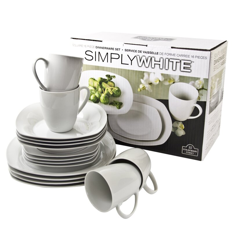 Simply Square 16 Piece Dinnerware Set Service for 4  sc 1 st  Wayfair & Ten Strawberry Street Simply Square 16 Piece Dinnerware Set Service ...