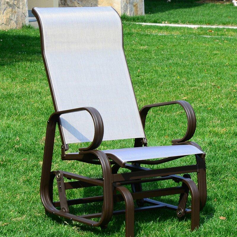 Swick Outdoor Mesh Fabric Patio Glider Chair & Swick Outdoor Mesh Fabric Patio Glider Chair u0026 Reviews | Joss u0026 Main
