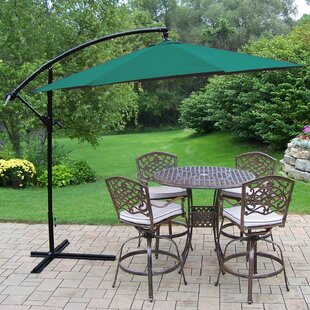 Oakland Living Elite Mississippi 5 Piece Bar Height Dining Set with Cushions and Umbrella