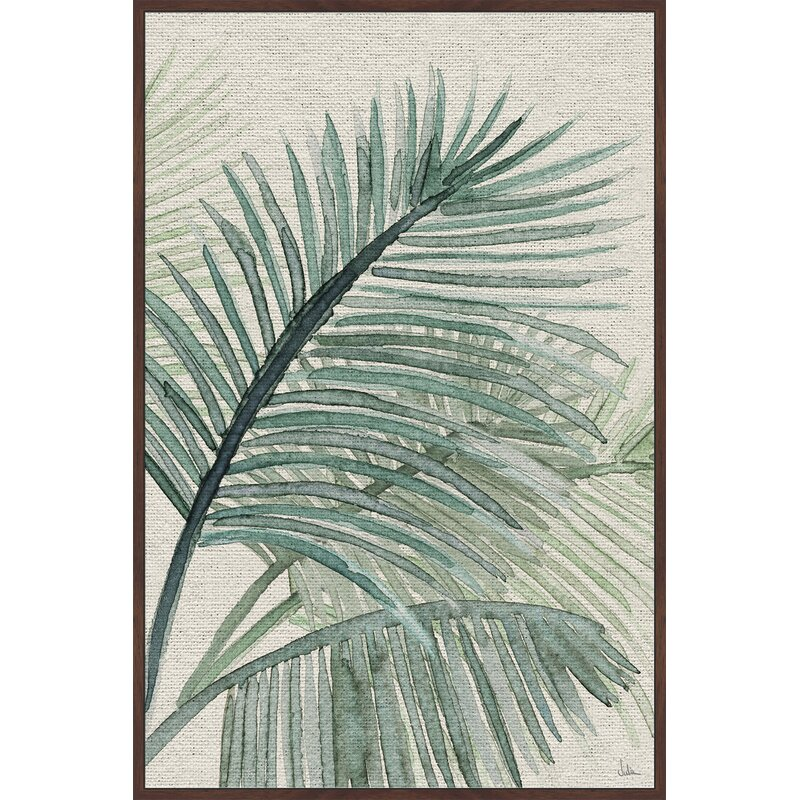 Bay Isle Home Original Palm Leaves Framed Watercolor Painting Print On Canvas Wayfair