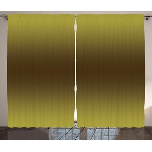 Collingdale Ombre Vintage Old Golden Inspiring Themed Design Digital Print for Room Decorations Graphic Print & Text Semi-Sheer Rod Pocket Curtain Panels (Set of 2) by Latitude Run