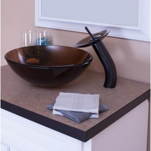 Find for Glass Circular Vessel Bathroom Sink with Faucet By Topia