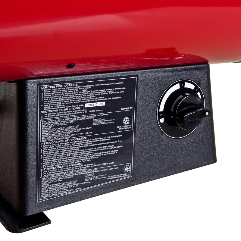 Red//Black Variable Output Pro-Temp PT-125V-GFA 125,000 BTU Propane Forced Air Heater