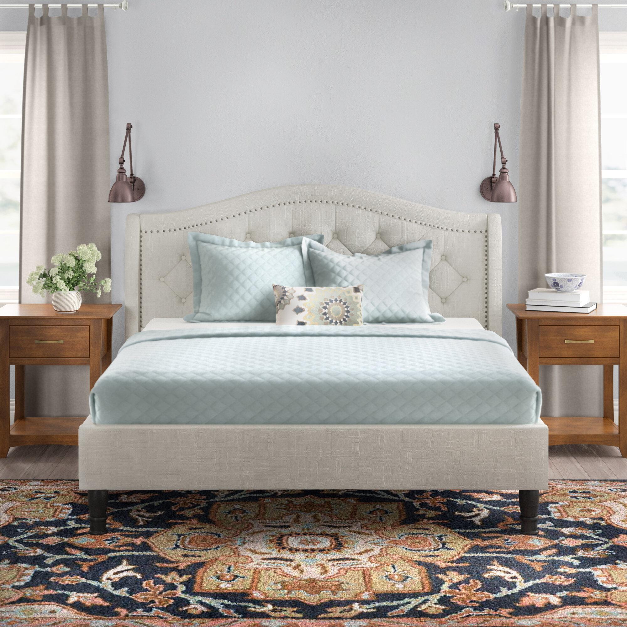 Alcott Hill Weiss Tufted Sleigh Bed Reviews Wayfair