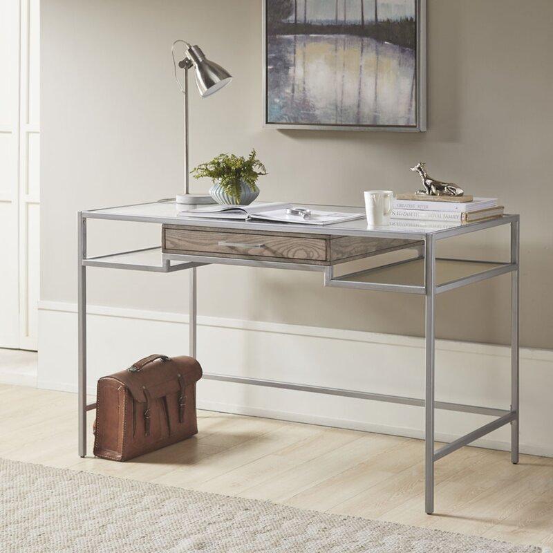 Orren Ellis Beversly Glass Desk Wayfair