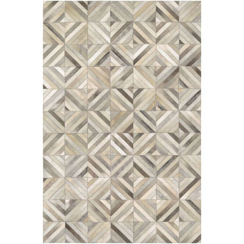 Easthampton Hand-Woven Cowhide Leather Ivory Area Rug