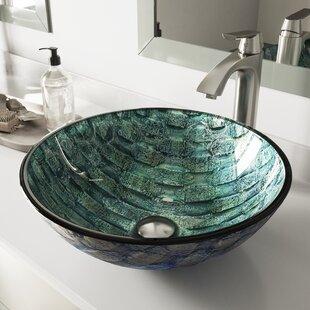 Oceania Glass Circular Vessel Bathroom Sink with Faucet VIGO