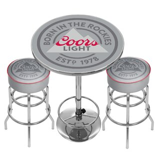 Trademark Global Coors Light Game Room Combo 3 Piece Pub Table Set