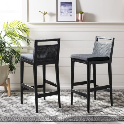 "Adah 27.75"" Bar Stool Upholstery: Black"