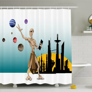 Outer Space Odd Alien Celestial Body with Planets Fantastic Hero Super Powers Image Shower Curtain Set