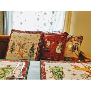 Parrish Winter Forest Reindeer Woven Tapestry Pillow Cover (Set of 2)