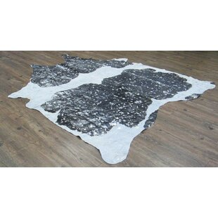 Buy clear Broadmeade Hand-Woven Cowhide Black/White Area Rug ByFoundry Select