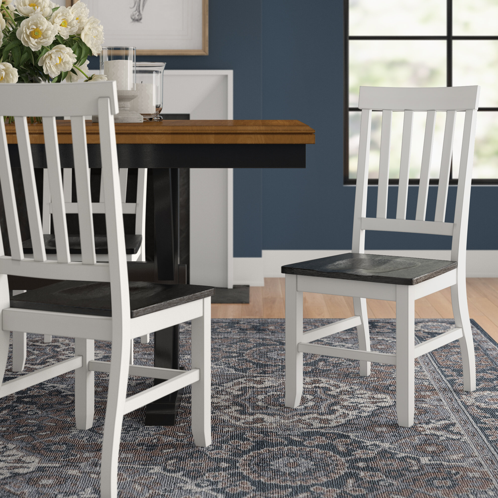 August Grove Reichard Solid Wood Slat Back Side Chair In White Reviews Wayfair