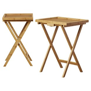 Hussey Bamboo Snack TV Tray Table (Set of 2)